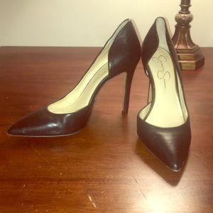 WORN ONCE! Jessica Simpson black leather pumps